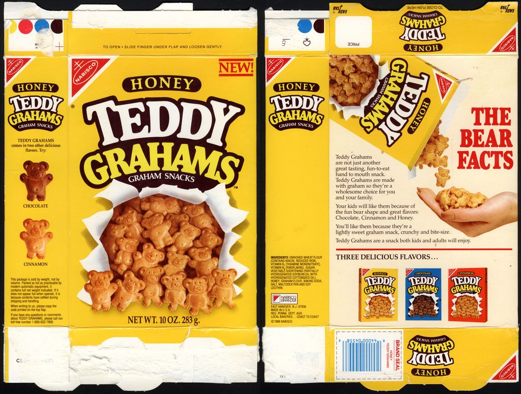 Nabisco - Teddy Grahams - Honey - NEW - cookie snack box - 1988