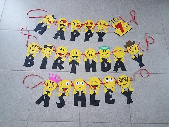 Emoji Inspired Birthday Banner Happy