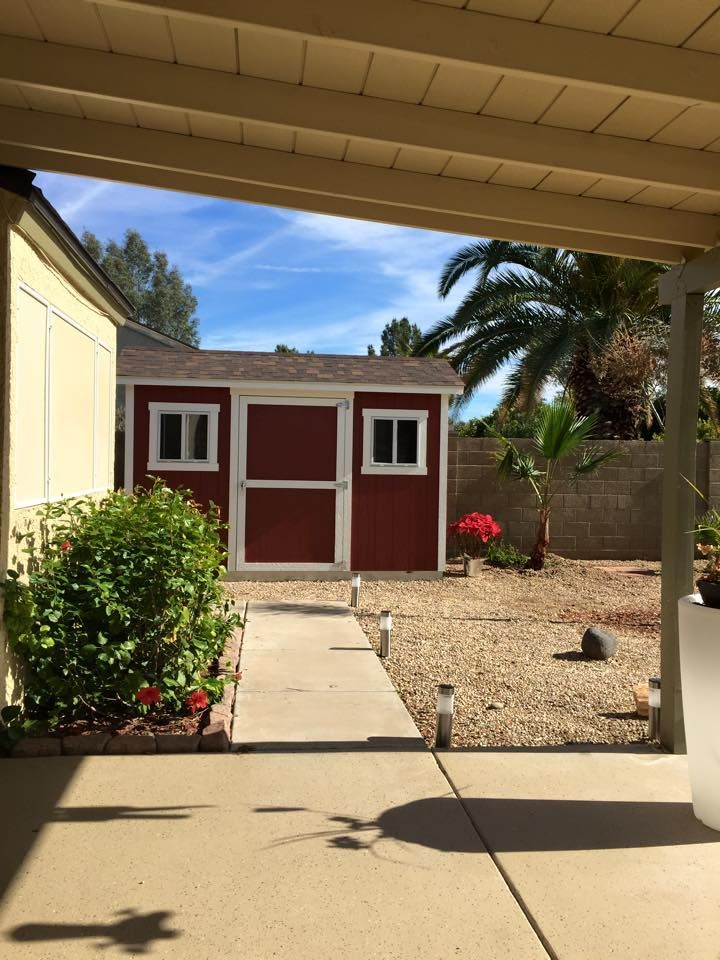 A bright red shed was just the pop of color this California backyard