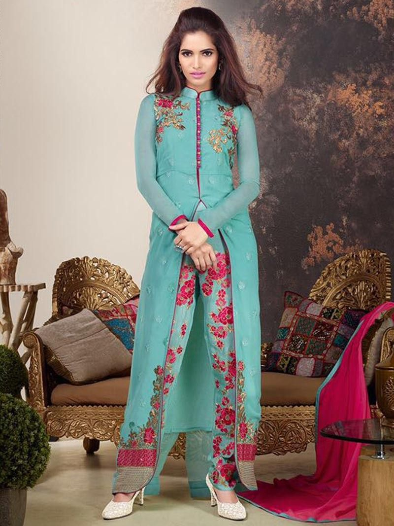 Firozi Color Indian Designer Front Open Striaght Suit #Salwar with ...