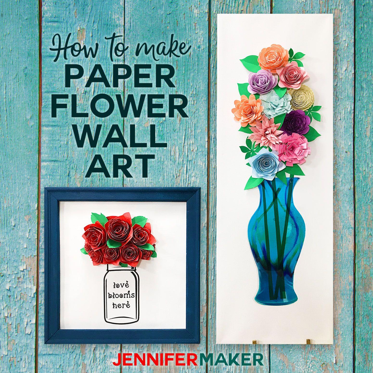 Diy Paper Flower Wall Art Mason Jars Vases Paper Flower Wall