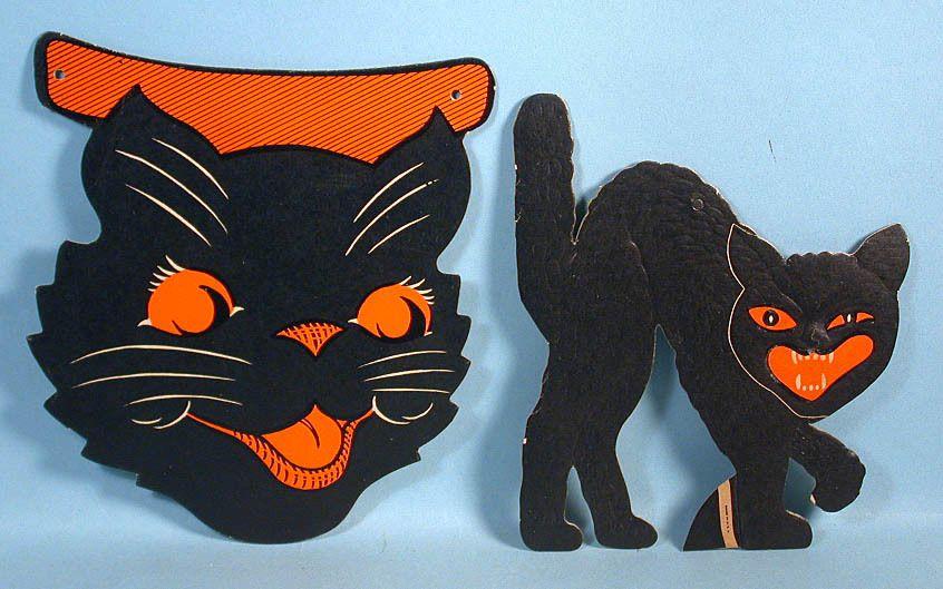 4 Halloween Black Cat Die Cut Cardboard Decorations Beistle Vintage - vintage halloween decorations ebay