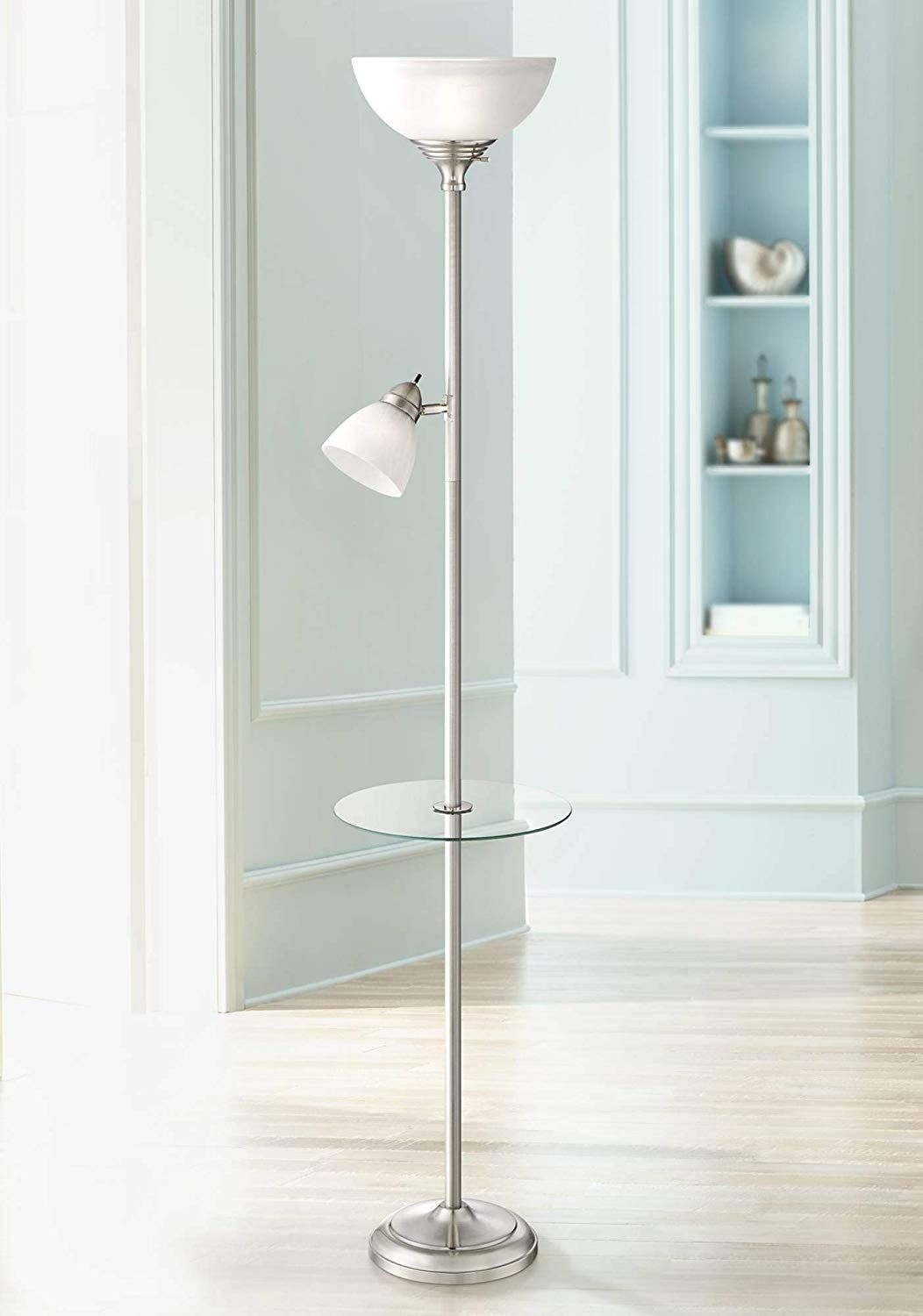 London Modern Torchiere Floor Lamp With Table Glass Brushed Nickel Adjustable Side Light For Living Room Reading Uplight 360 Lighting In 2020 Floor Lamp Torchiere Floor Lamp Lamps Living Room