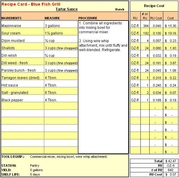 Menu recipe cost spreadsheet template google for Food costing sheet template