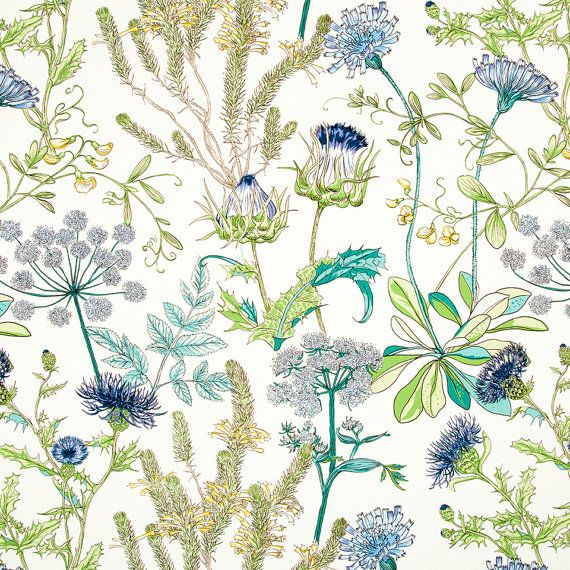 Teal And Navy Blue Upholstery Fabric Green Yellow Floral Headboard Material Abstract Blue