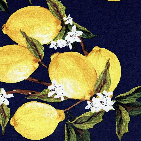 Fabric Navy Blue Quot Freshly Squeezed Quot Retro Lemon Fruit Print Yellow Lemons By The Yard Lemon