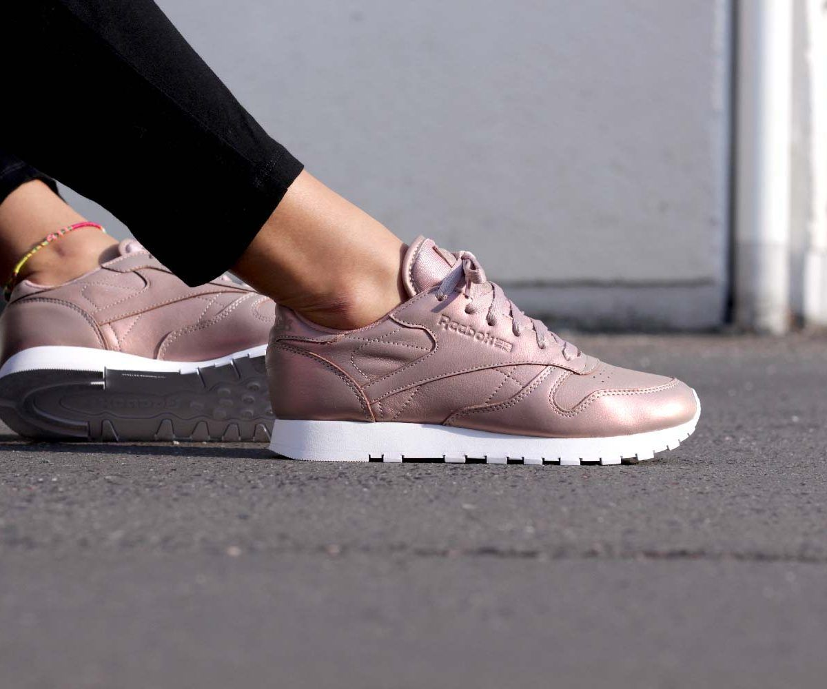 Reebok Classic Leather Pearlized Rose Gold Sneakers  Sneakers