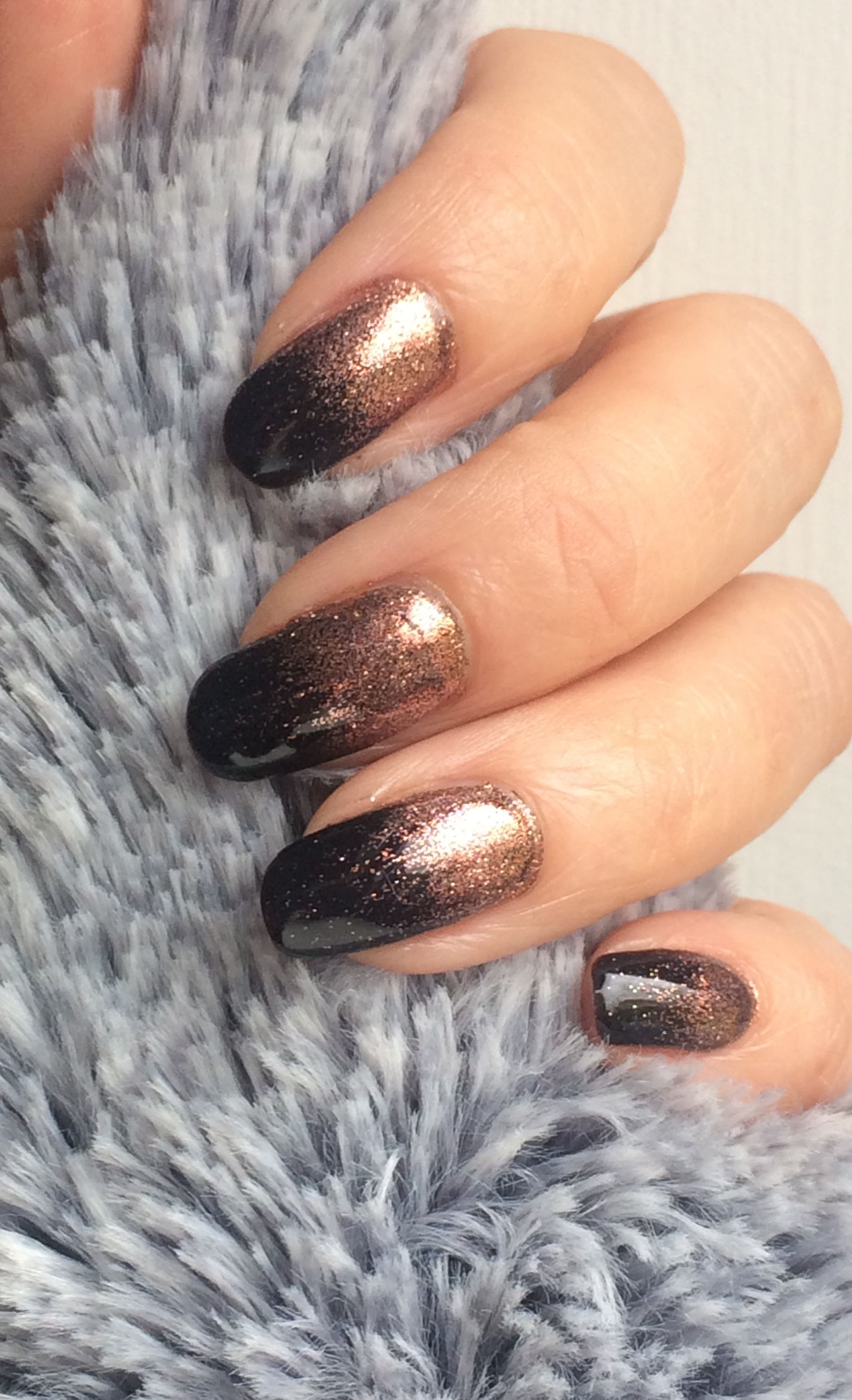 Black gelish with rose gold glitter by The Beautiful Nails Company ...