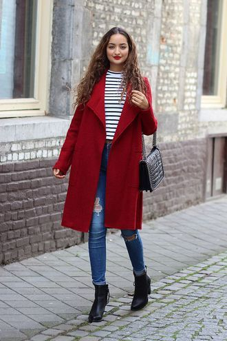 coat red coat striped shirt ripped jeans heel boots blogger