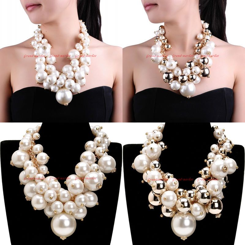 Chunky bead pendant necklace Big bold black red grey necklace Large statement necklace for women Modern chic choker Necklace bracelet set