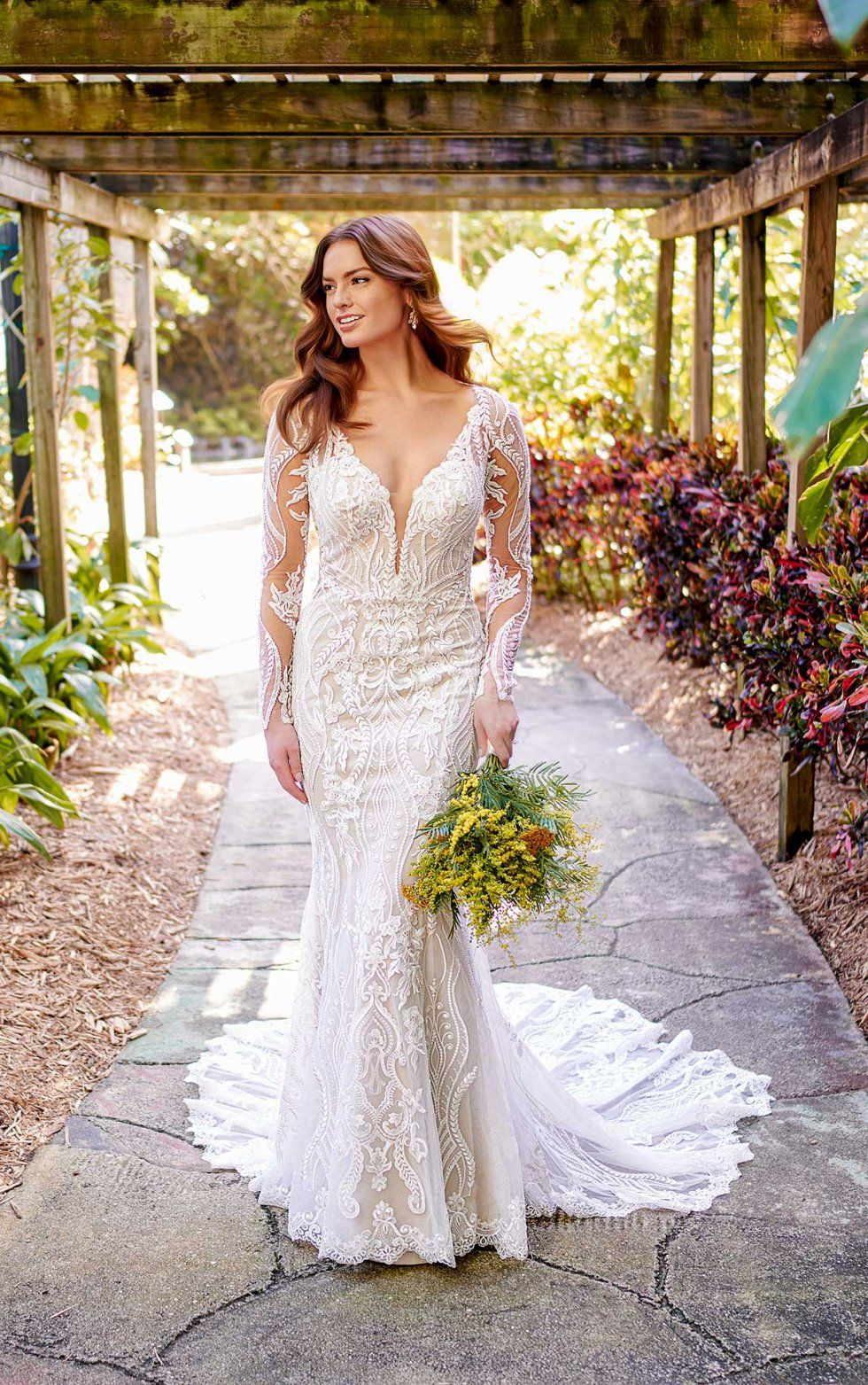 Graphic lace wedding dress with illusion sleeves essense