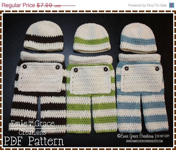 ON SALE Crochet Pants and Beanie Patterns by EmieGraceCreations, $5.59