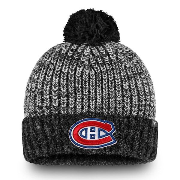 07a32df7e9d Men s Montreal Canadiens Fanatics Branded Black Gray Iconic - Cuffed Knit  Hat with Pom