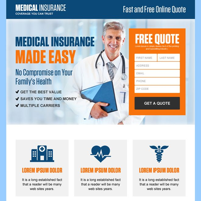 Professional Health Insurance Free Quote Landing Page Design