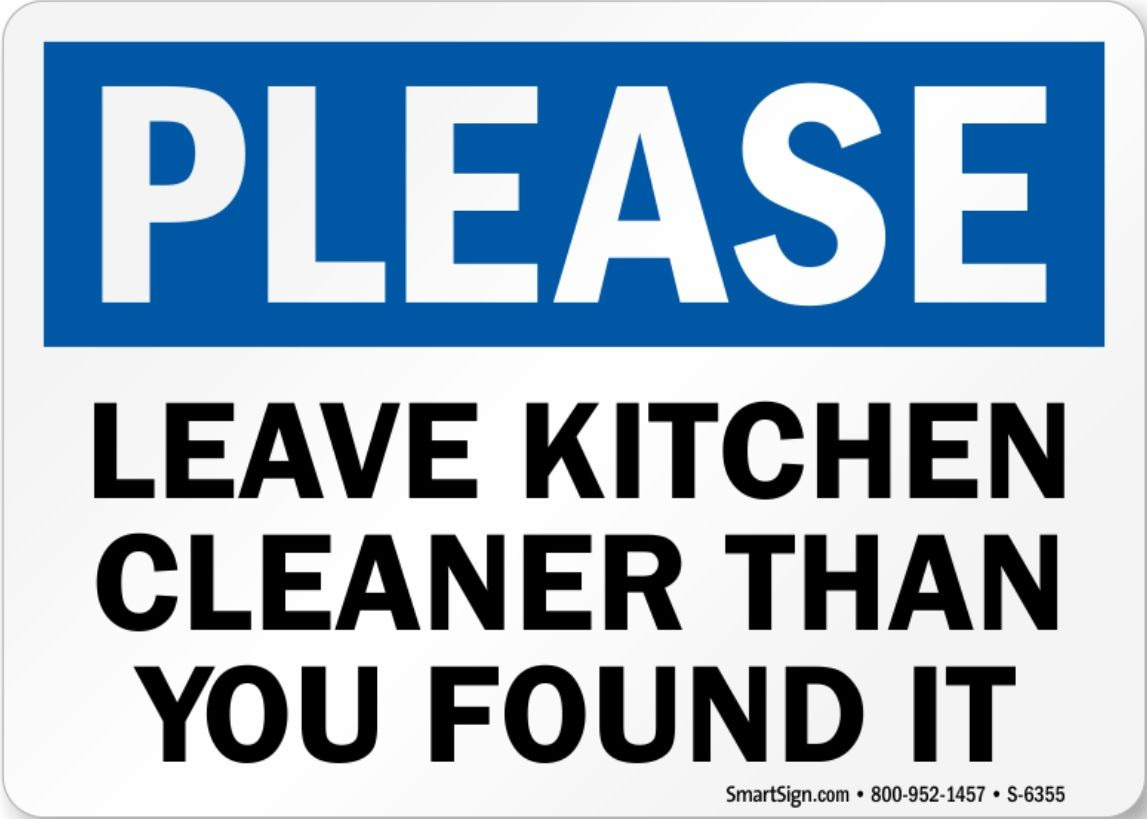 Funny bathroom signs for cleanliness - Keep Kitchen Clean Signs