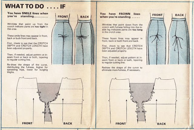 What to do it you have smile or frown lines on your pants when standing