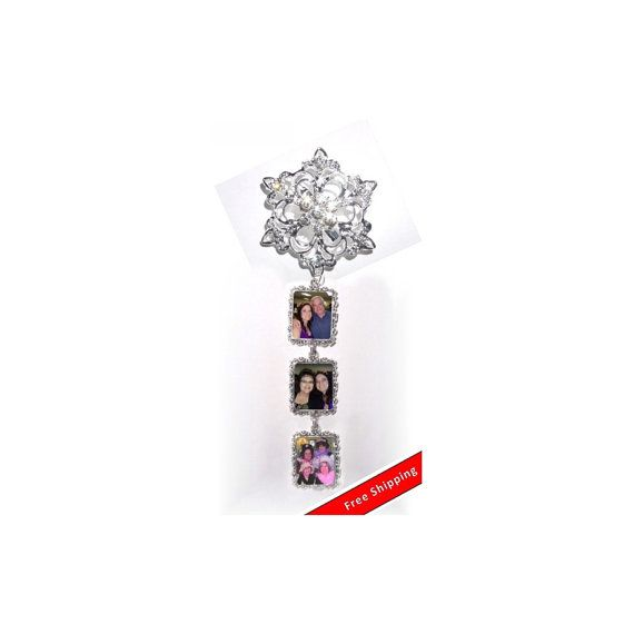 DIY - Bouquet Charms - 3 Wedding Bouquet Photo Charm Memorial Silver Crystals - FREE SHIPPING by StainedGlassAddie