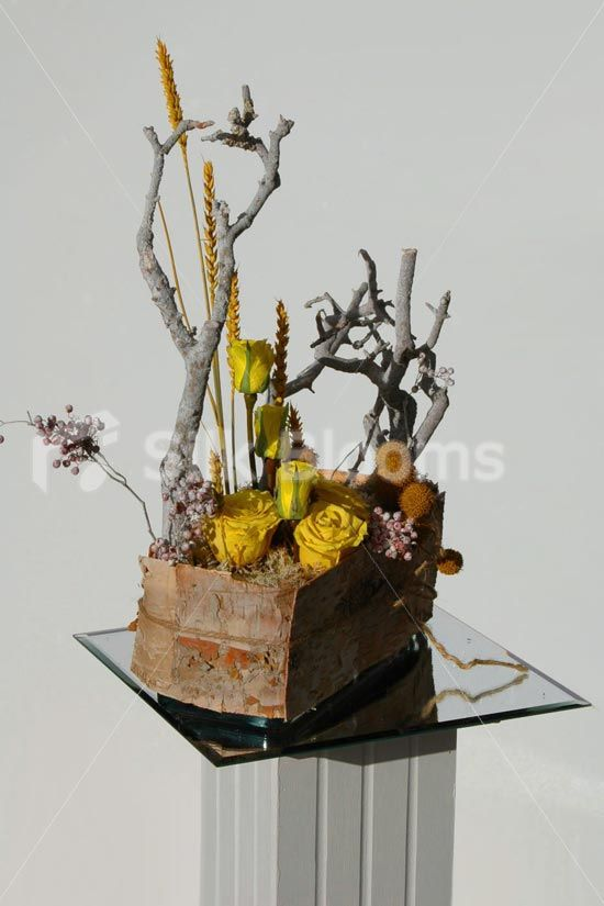 Modern Yellow Preserved Soft Avalanche Rose Trough Vase Display