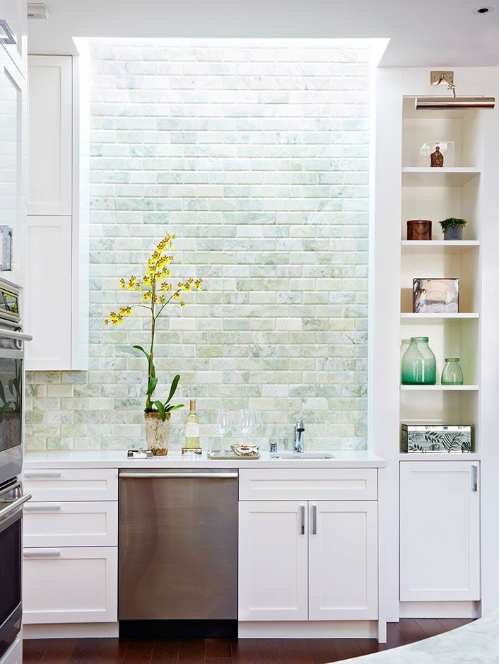 anne hepfer design kitchen with bricked wall backsplash accented rh pinterest com