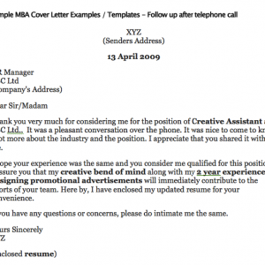 Sample Mba Cover Letter Examples  Templates  Follow Up After