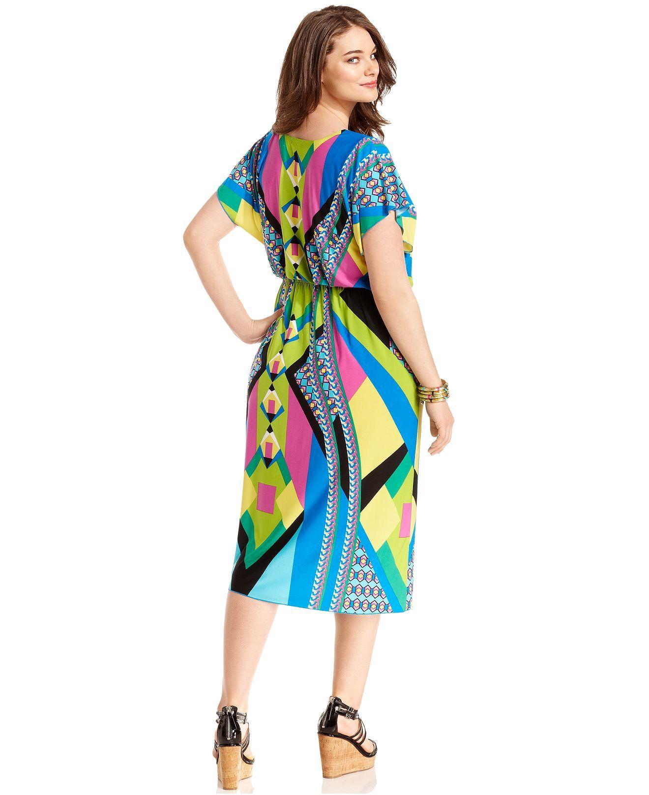 One world plus size dress shortsleeve printed plus size dresses