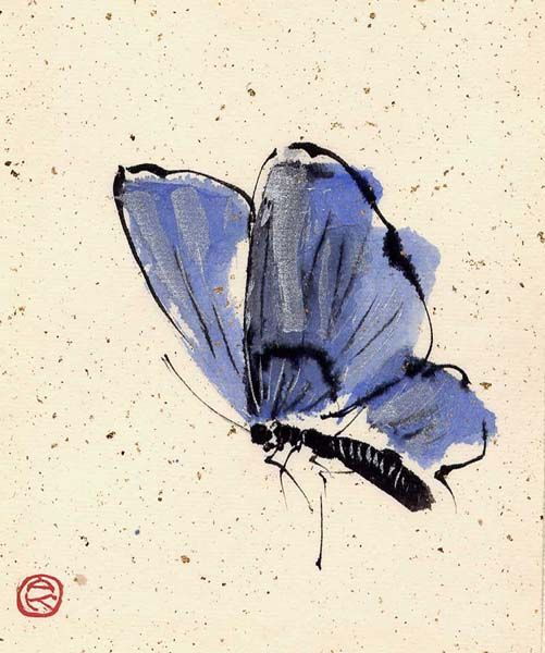 Blue Butterfly Chinese Brush Painting Artist Unknown