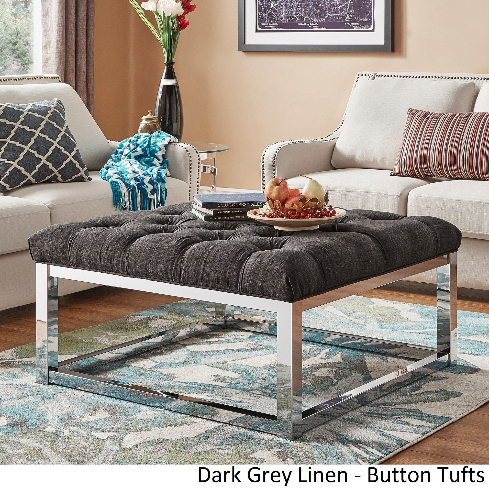 Solene Square Base Ottoman Coffee Table - Chrome by Inspire Q ([Dark Brown  PU]- Dimpled Tufts)