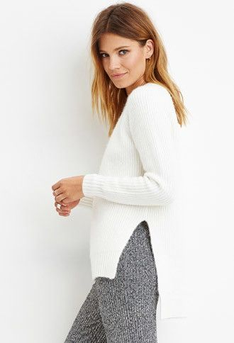 Contemporary Brushed Knit Raglan Sweater | LOVE21 - 2000162534