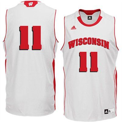 new products 76ad9 b1aee adidas Wisconsin Badgers #11 Replica Basketball Jersey ...