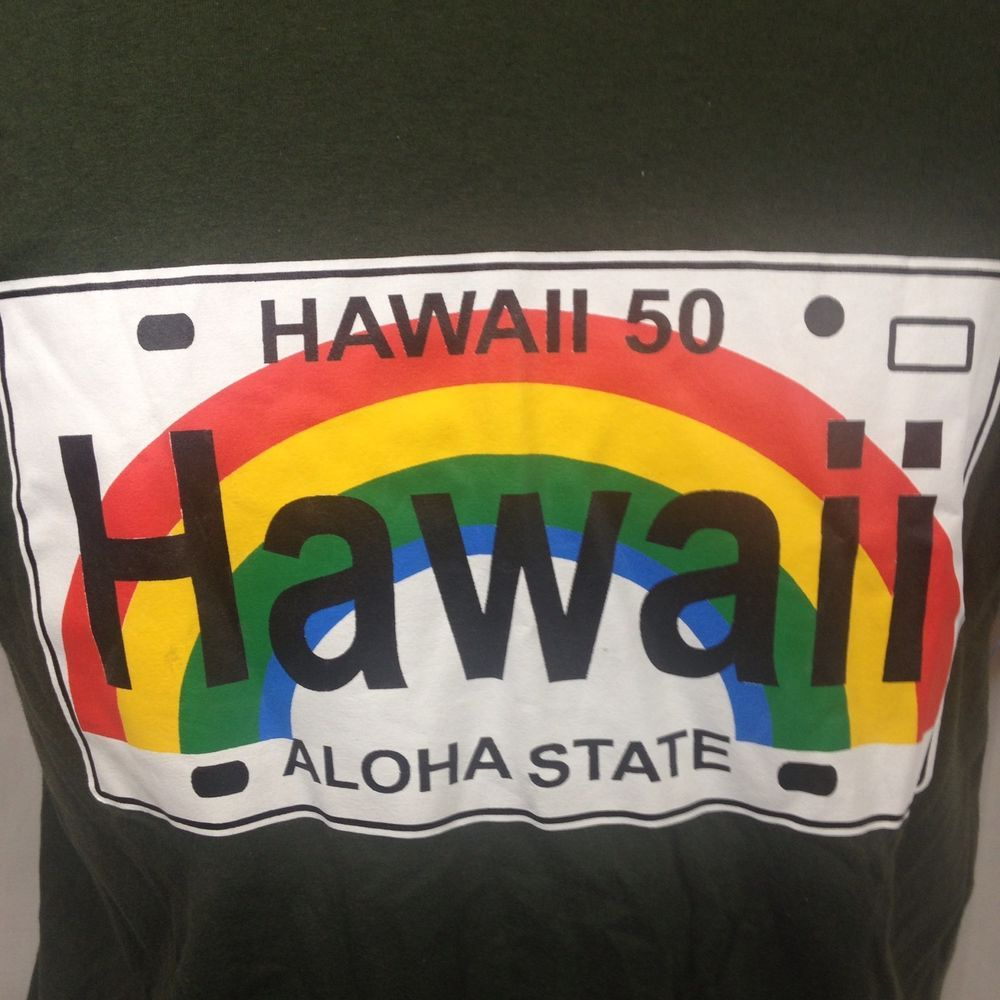 c38dc3042281 Hawaii Aloha State License Plate T-Shirt Rainbow Large Green Vacation  Tropical #Unbranded #BasicTee