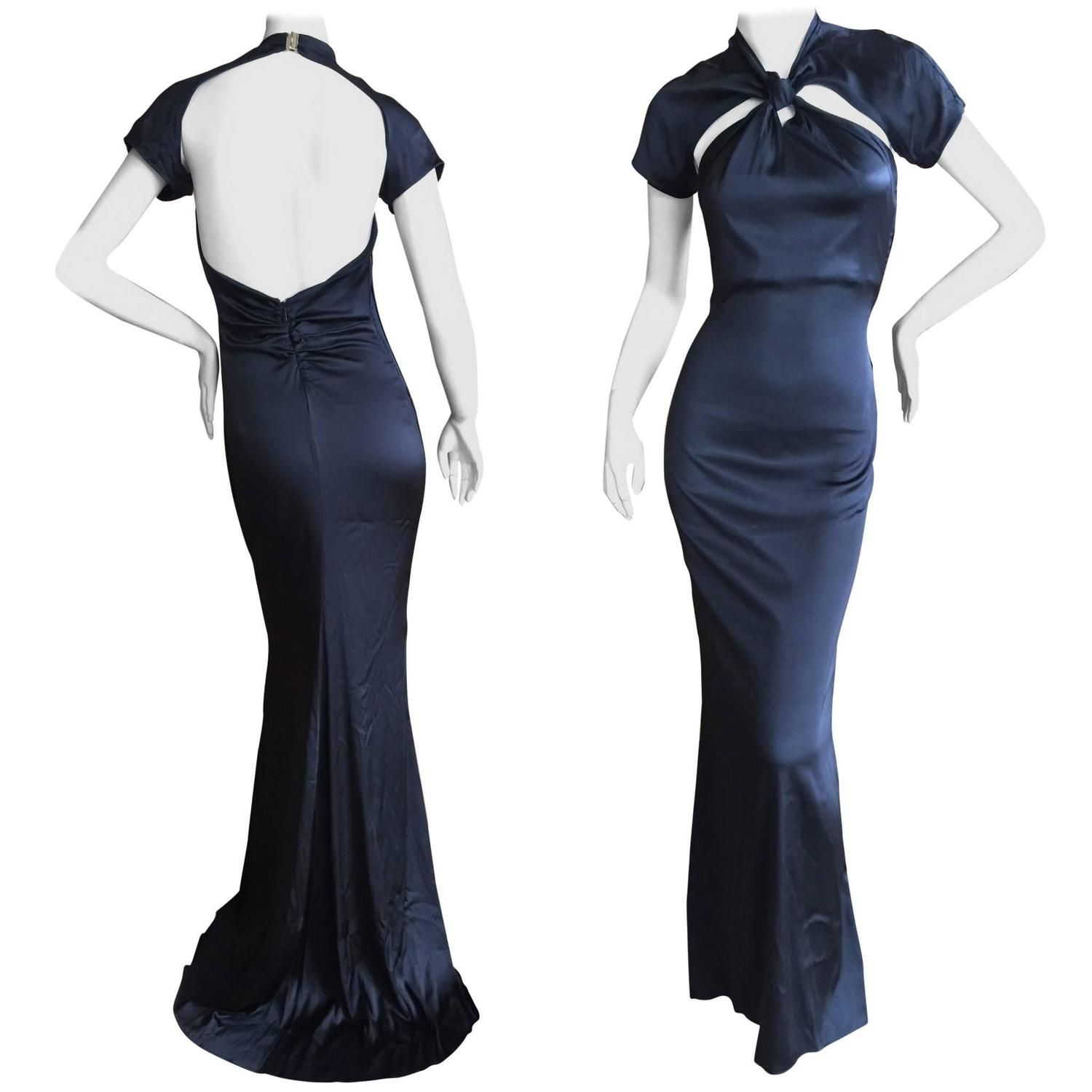 86f1e2044 Gucci by Tom Ford Backless Black Silk Dress   From a collection of rare  vintage evening