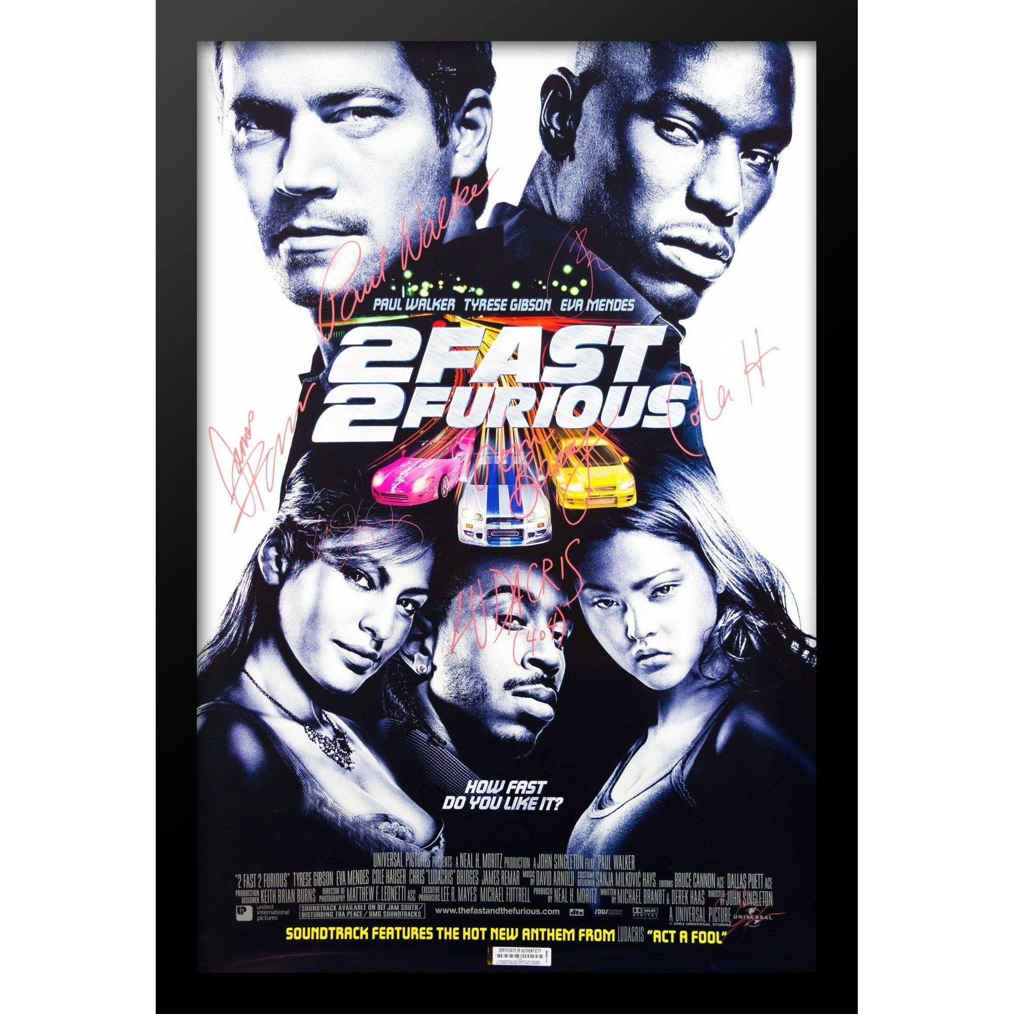 2 Fast 2 Furious Movie Poster Signed Movie Poster Black