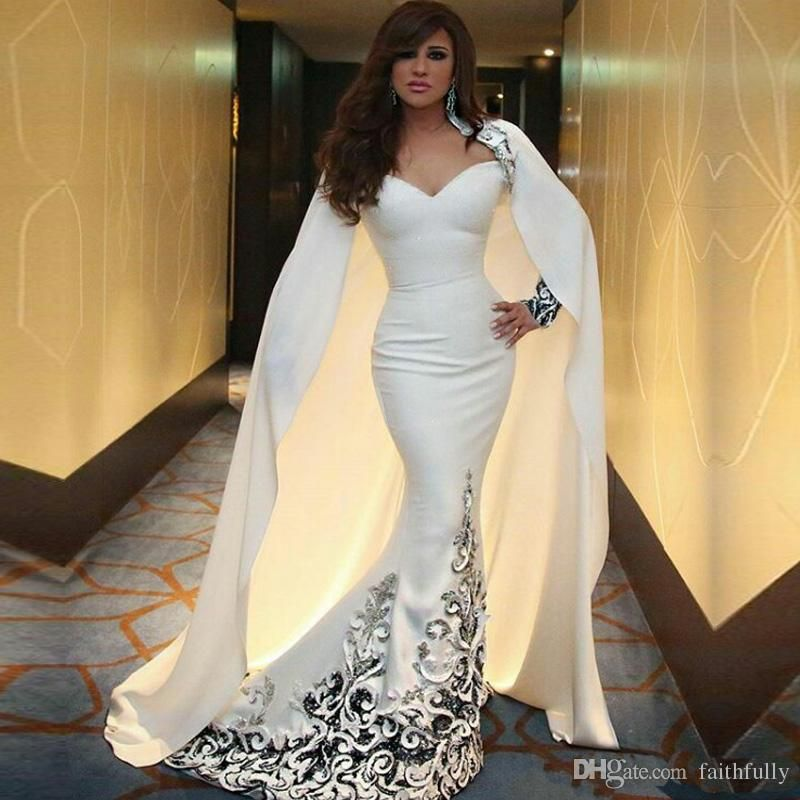 a9576dd64cf88 Myriam Fares Slim Arabic White Mermaid Evening Dresses With Cape ...
