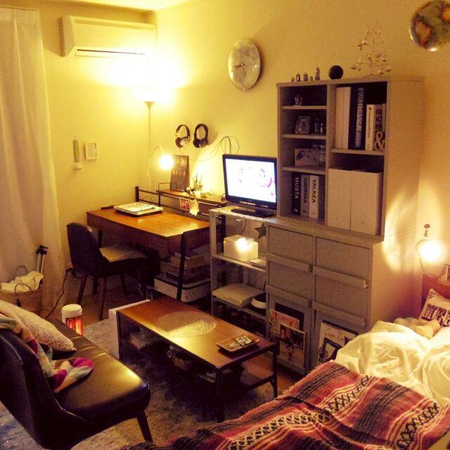 leeさんの、部屋全体,無印良品,ワンルーム,一人暮らし,unico,賃貸,mon・o・tone,のお部屋写真