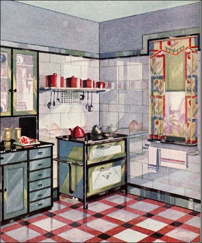 Heritage Tiles In Art Deco Style For Kitchens And Bathrooms: 1929 Vintage Vitrolite Kitchen