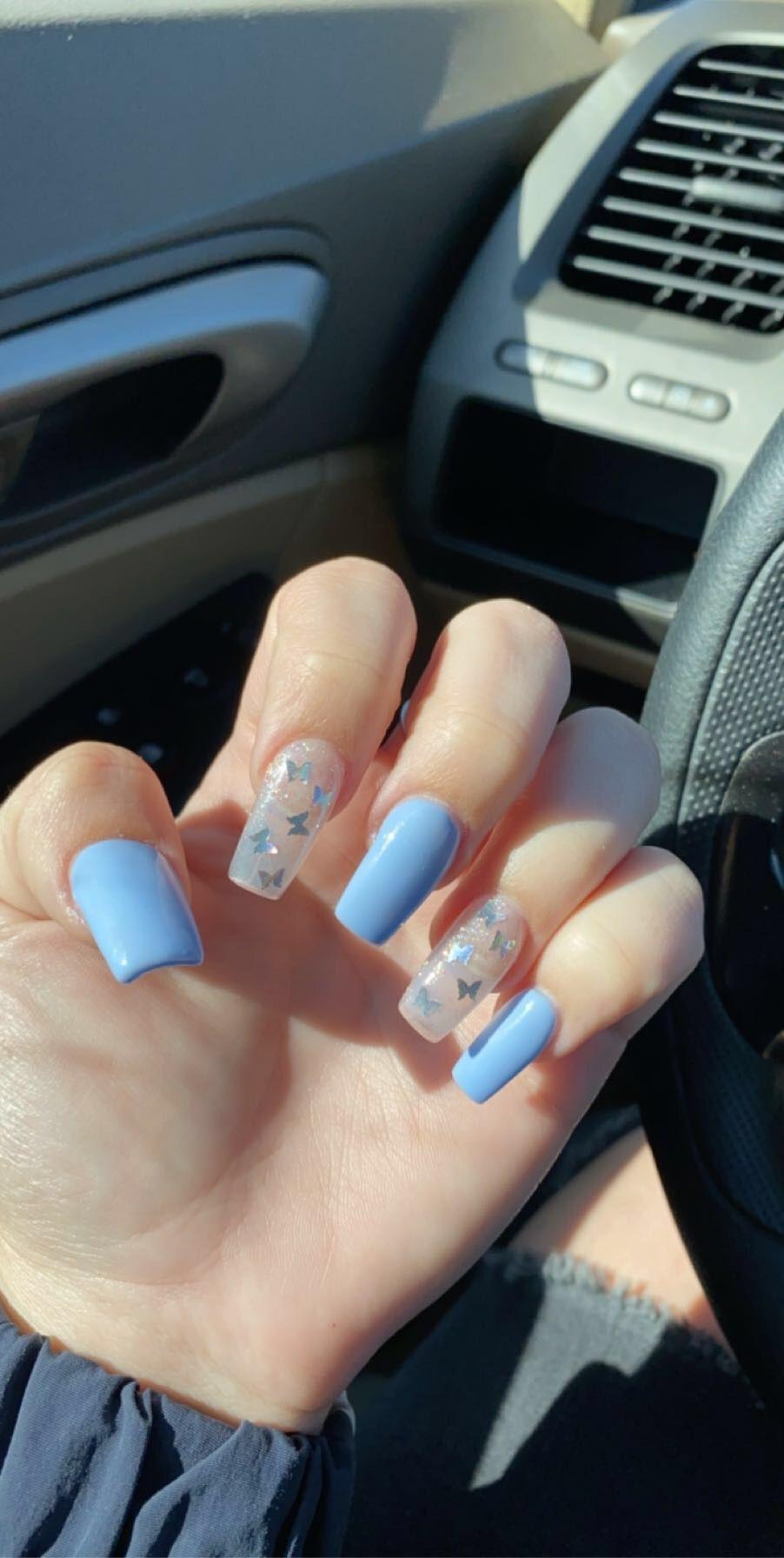 Pretty In Butterflies Short Acrylic Nails Designs Blue Glitter Nails Acrylic Nails Coffin Short