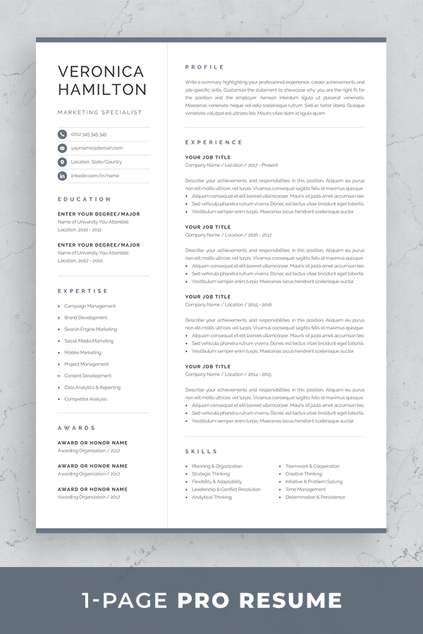 Professional Resume Template Compact 1 Page Resume Template Etsy One Page Resume Template One Page Resume Resume Template Professional