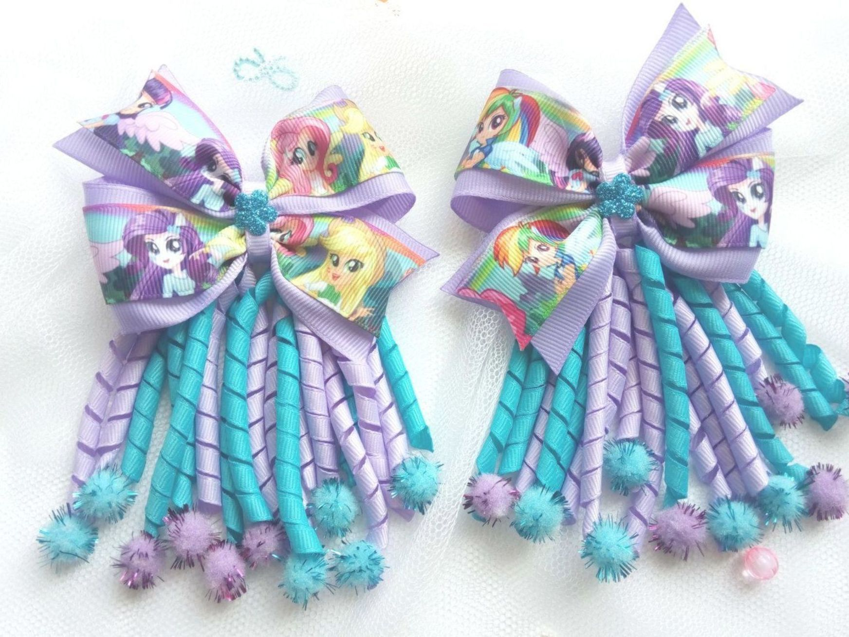 Handmade My Little Pony Inspired Boutique Hair Bow  Hair Clip Set Of 2
