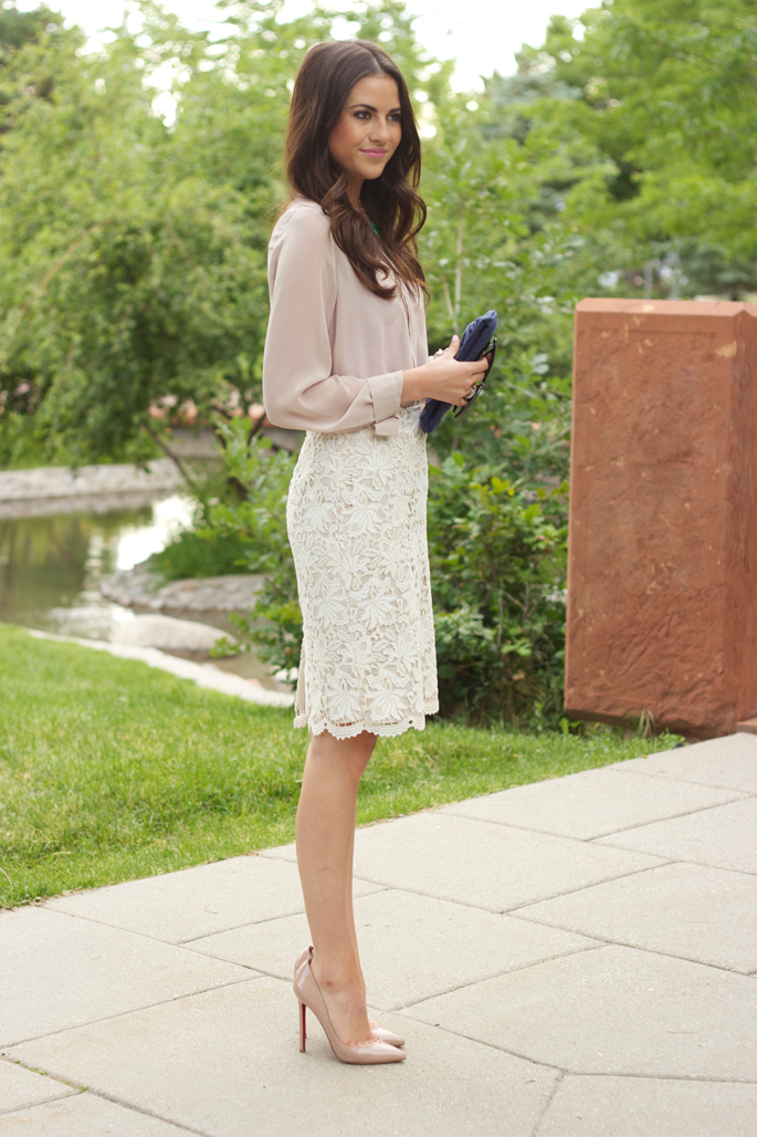 5f4461804b Pale Blush Blouse, White Lace Pencil Skirt, Nude Heels // elegance