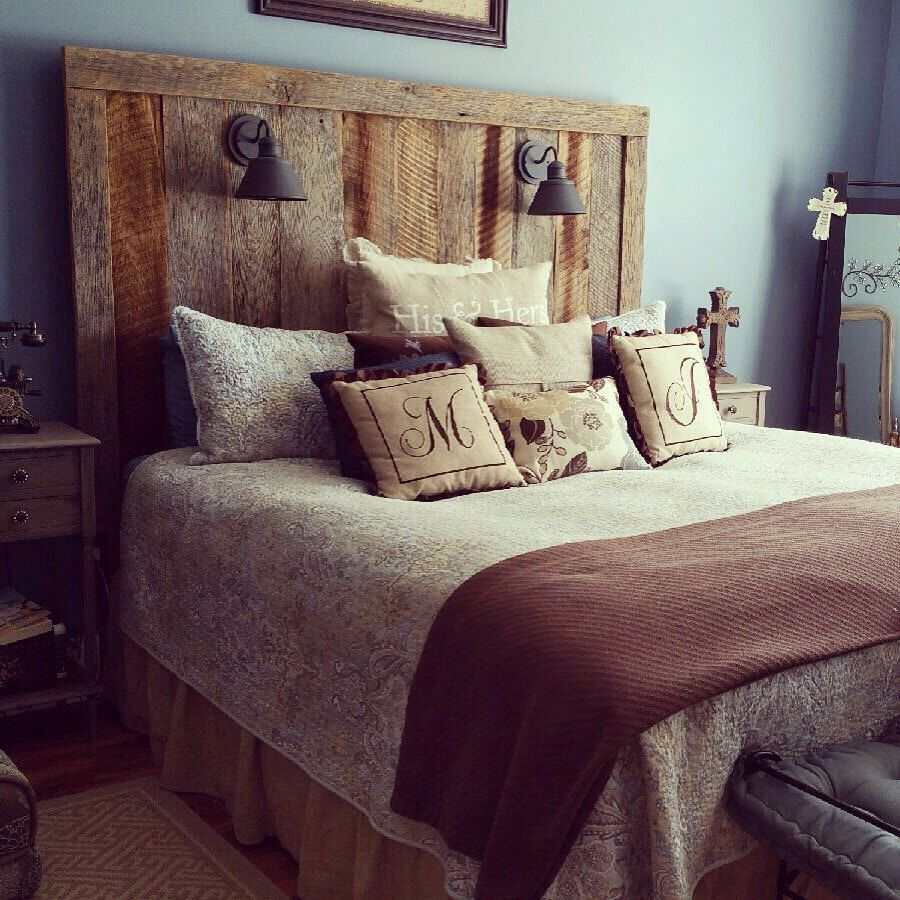 Rustic barnwood headboard with lighting gage collection by