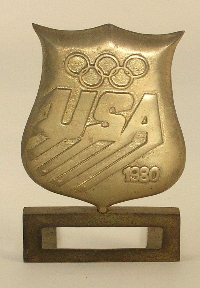 1980 Olympics Single Brass Bookend - This is Not a Pair by JohnGermaine on Etsy