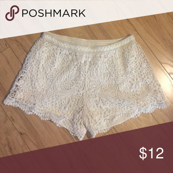 White crocheted short shorts Really cute, only worn one time.  Perfect condition. Mossimo Supply Co Shorts