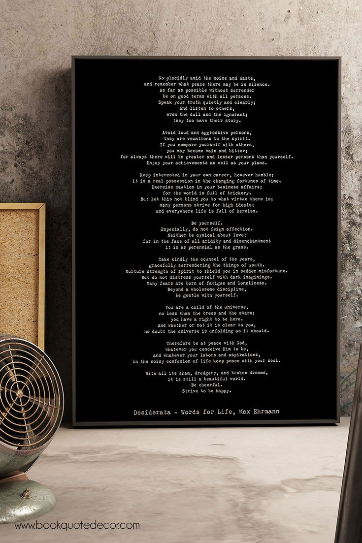 Desiderata quote art Poster print literary book gift quotes reading words for