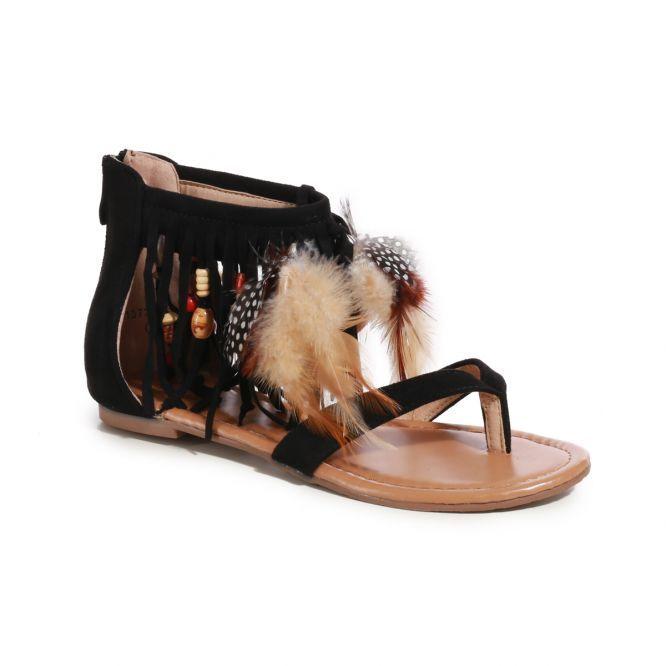 aeedacae6643 Sandales à franges noires avec plumes et perles Sandales Franges