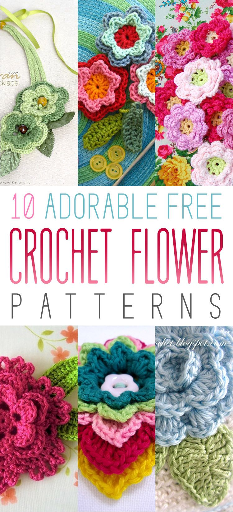 10 Adorable Free Crochet Flower Patterns | Flores, Ganchillo y Tejido