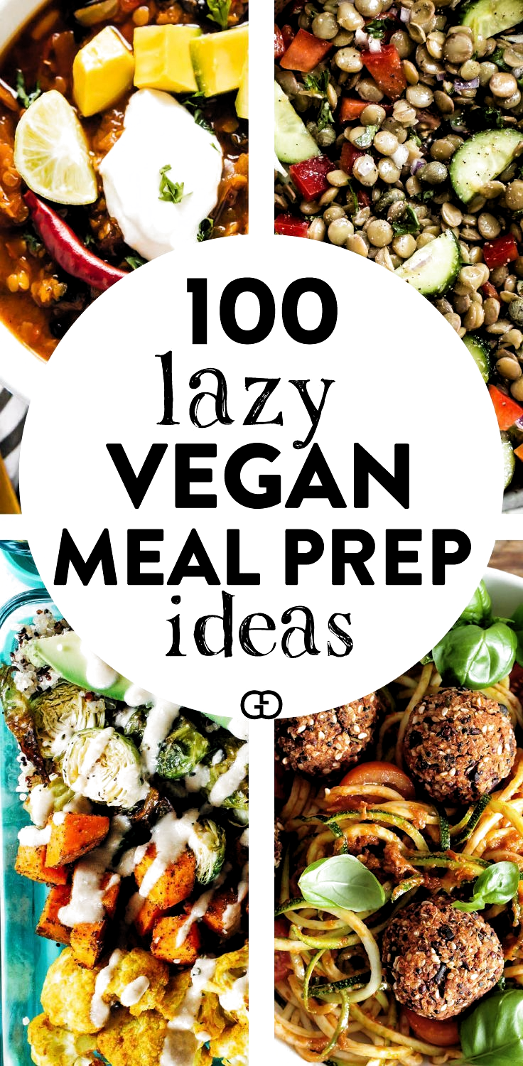 100 + Vegan meal prep ideas: these meal planning vegan recipes will help you with plant-based meals for breakfast, lunch, dinner, dessert, and snack! #veganrecipes #mealprep #healthyrecipes