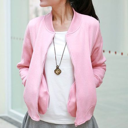 Spring/Autumn Girl's Pink Baseball Varsity Jacket | Women's Jacket ...
