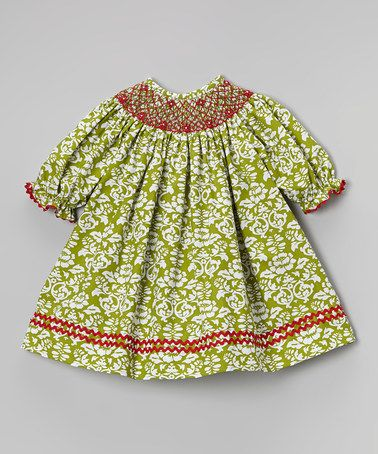 This Green & Red Damask Bishop Dress - Infant, Toddler & Girls is perfect! #zulilyfinds
