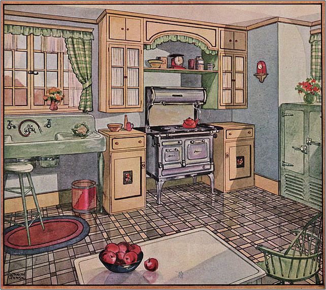 1928 Linoleum Ad   Cute Kitchen But No Counter Space