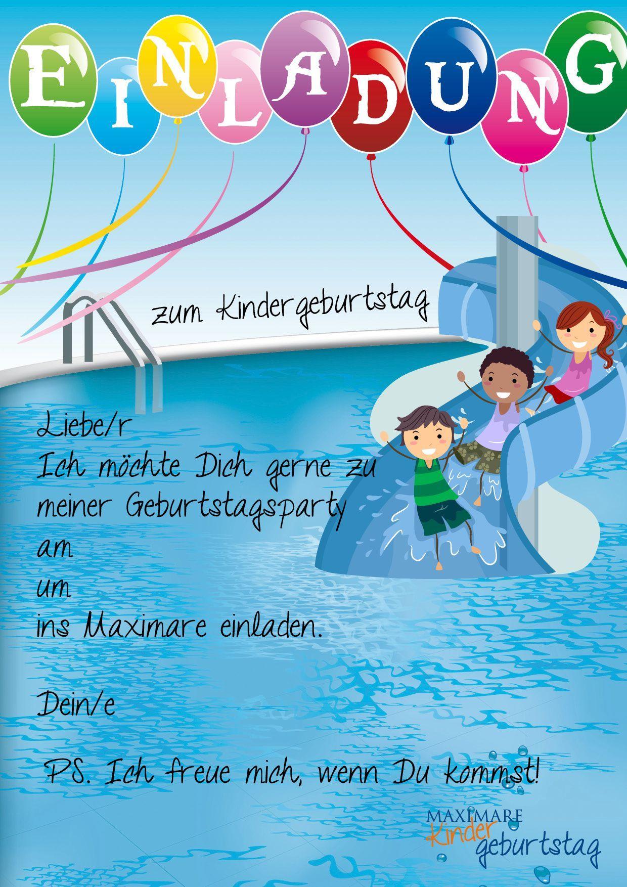 Kindergeburtstag Schwimmbad Einladung